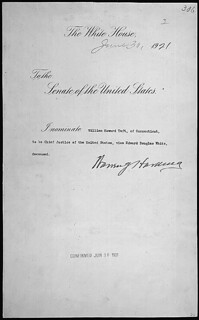 Message of President Warren G. Harding nominating William H. Taft of Connecticut to be Chief Justice of the United States Supreme Court, 06/30/1921