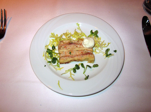 Geschichteter Speck mit Griebenschmalzbrot / Bacon with greaves lard