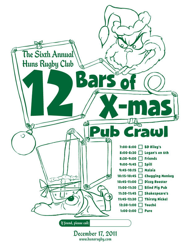 Huns 12 Bars of X-mas Pub Crawl Tee 2011