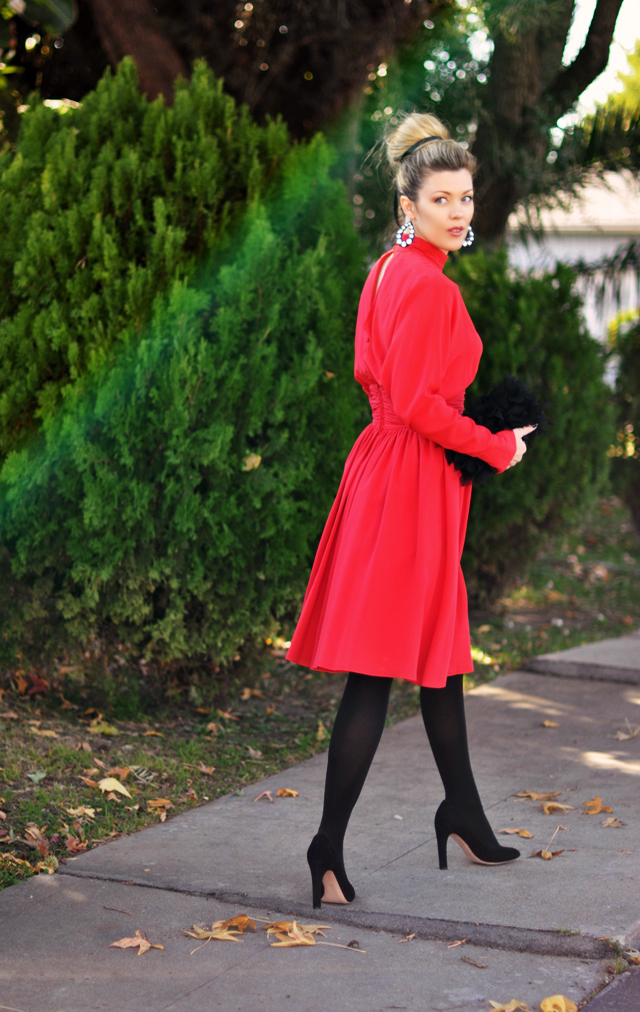 holiday dressing-  red dress- black tights-vintage dress