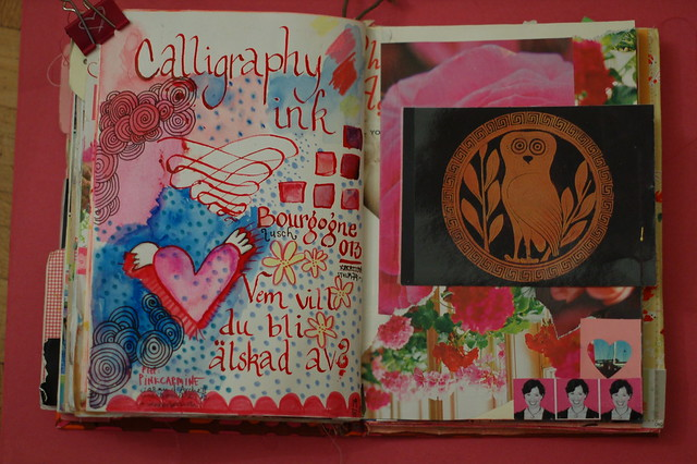 Art journal peek: Red calligraphy ink