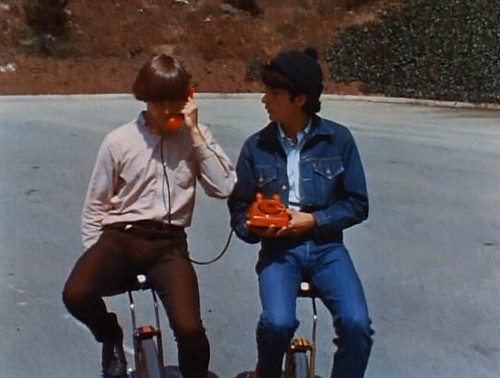 Monkees on unicycle on rotary phone