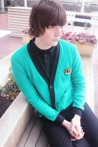 Queens Of Sounds Hexagon shape Pocket Wool Cardigan Emerald Green - John