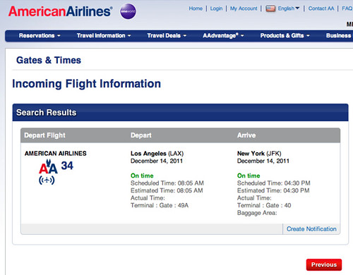American Airlines Incoming Flight Information