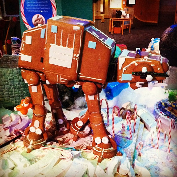 Project 365 346/365: Where else can you see a gingerbread AT-AT but @discoverycube #gingerbreadDSC #starwars