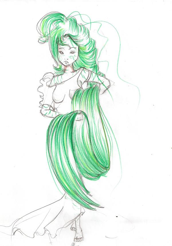 ''ses longs cheveux verts qui lui déscendaient jusqu'aux pieds ''