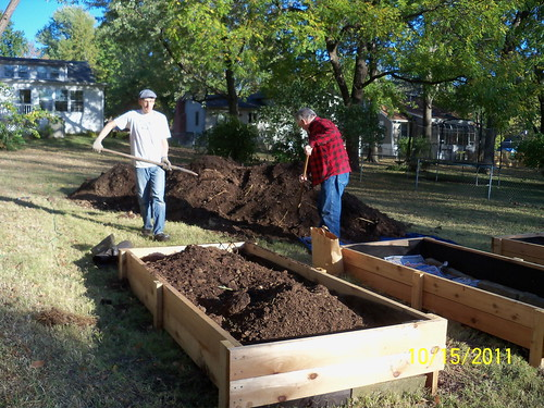 Bryan and Dad shoveling compost into raised beds