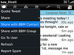 Easily share Tweets with BBM Contacts and Groups