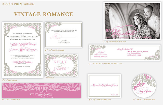 Vintage Romance Wedding Invitation Package 5x7 wedding invitation