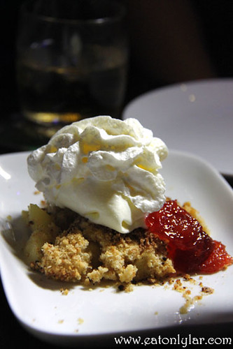 Stewed Spiced Apple Crumble with Vanilla Ice-cream, Beer Belly