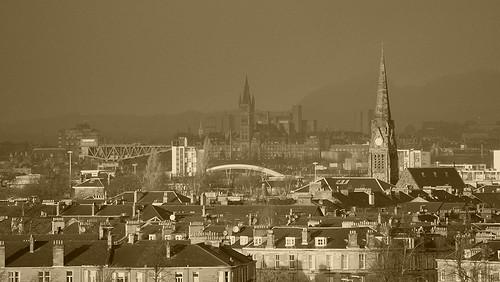 Sepia toned Glasgow