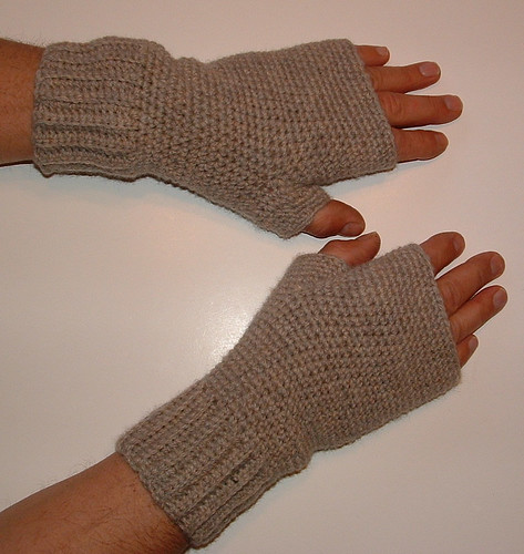 Mens Crocheted Fingerless Gloves My Recycled Bags