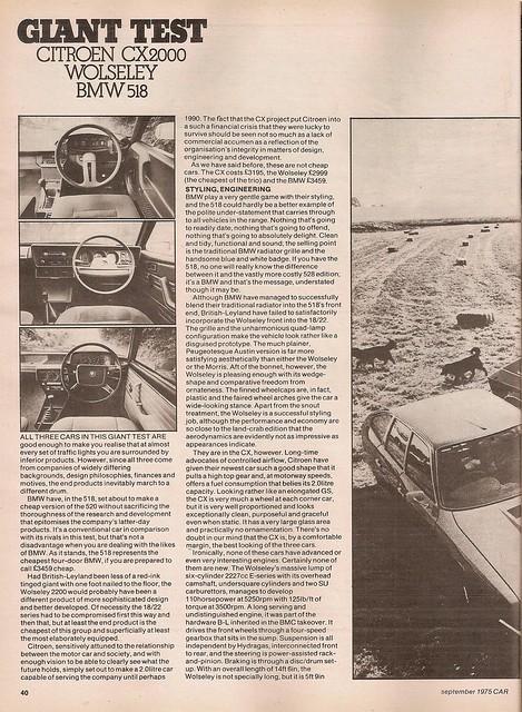 Citroen CX 2000 - BMW 518 E12 & Wolseley 2200 Group Road Test 1975 (1)