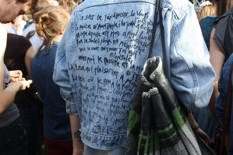 scribled denim jacket