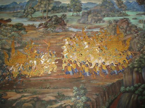 Ramakien Battle Mural, Wat Phra Kaew, Bangkok by Aidan McRae Thomson
