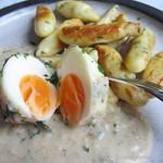 ©Schnittlauch-Schupfnudeln mit Walnuss-Sauce und Ei