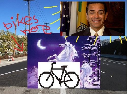 Venice Boulevard bike lane returns thanks in part to LA's patron saint of bicycling (artist's rendering).