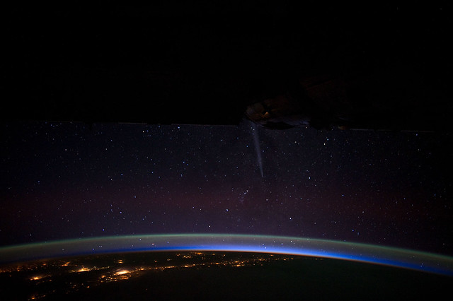 Comet Lovejoy and Chile at Night (NASA, International Space Station, 12/26/11)