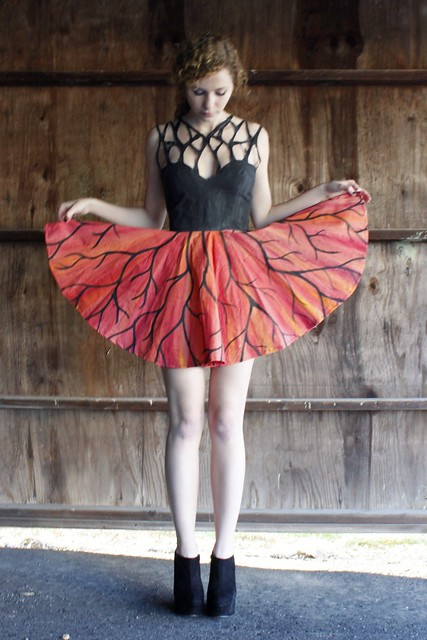 Upside Down Hand-pianted Tree Dress