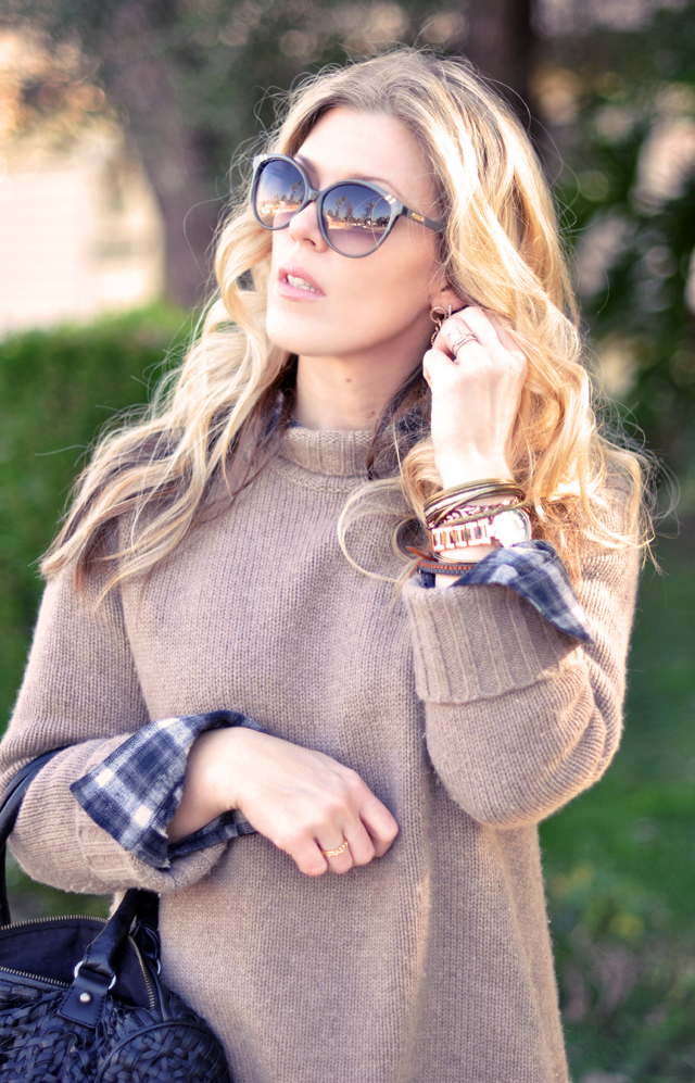 cashmere sweater-plaid  button  down-sunglasses-waved hair