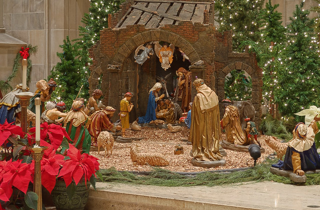 Saint Peter Cathedral, in Belleville, Illinois, USA - Christmas manger scene