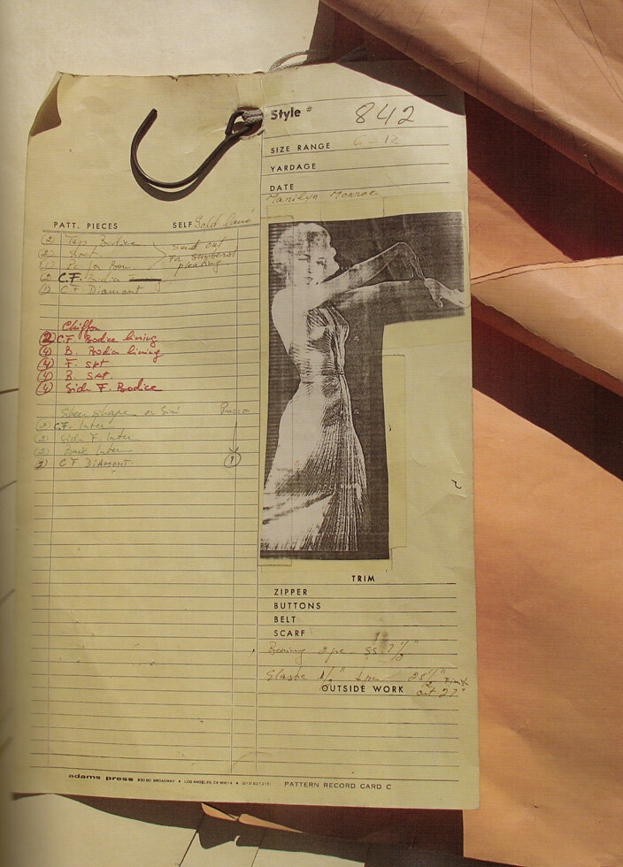 "Original Dress Pattern for the ""Sunburst"" Dress from ""Gentlemen Prefer Blondes"""