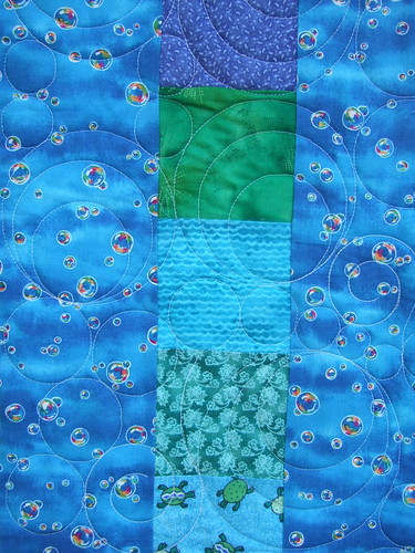 Bubble quilting on water quilt