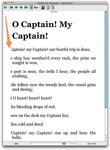 Poetry bad formatting Kindle Fire