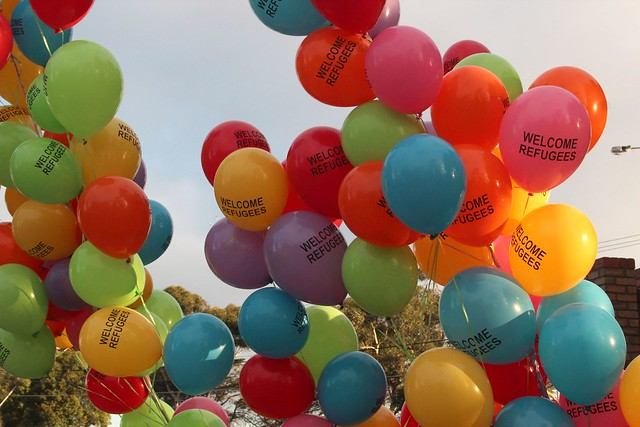 Welcome refugees balloons - Refugee vigil Broadmeadows