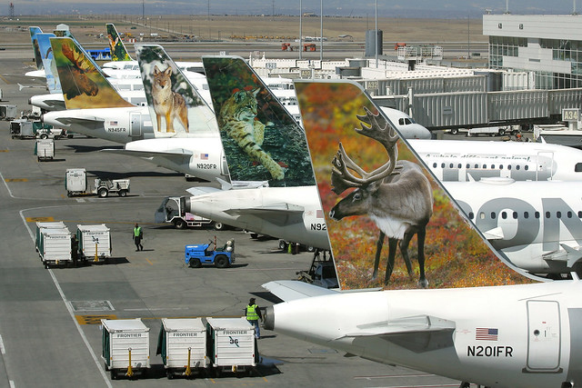 Frontier Airlines Airbus animal Tails at Denver Airport on ...
