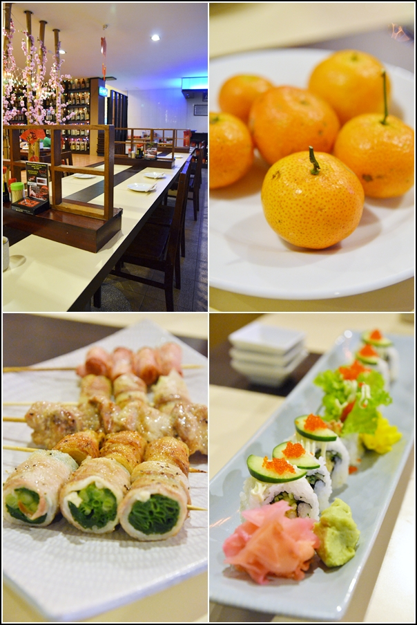Yakitori, Ebi Tempura Maki, Mandarin Oranges