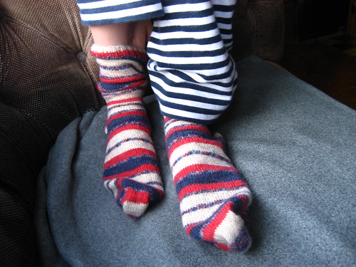 Circus socks for Cam - with room for growth because his feet grow about 2cm a month at the moment