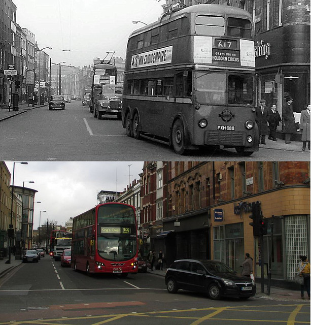 241-King's Cross, Caledonian Road late 1950's and 2012
