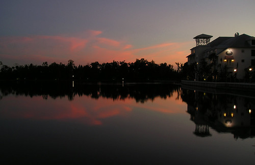 sunset sky water clouds reflections orlando village florida resort celebration
