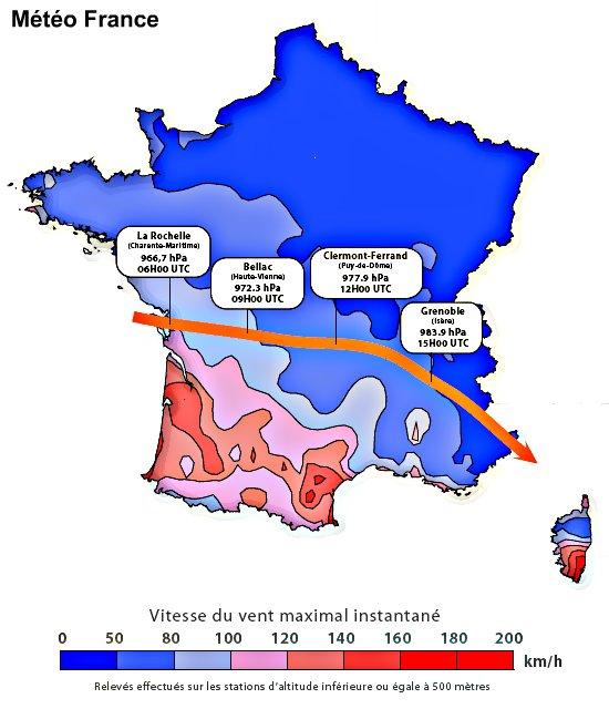 carte des vents et du trajet de la dépression de Klaus météopassion
