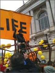 Joe Scheidler rides the Life Boat