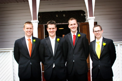 The Groomsmen in front of the marae