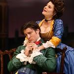 His despair over her true feelings separates and reunites Faulkland (Gareth Saxe) and Julia (Mia Barron) in the Huntington Theatre Company's production of
