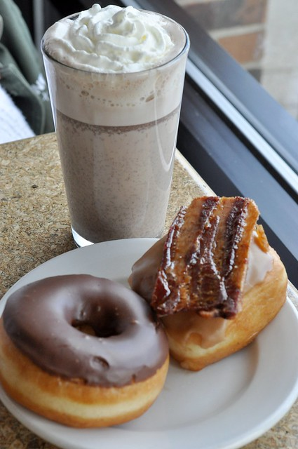Hot Chocolate w/ Maple Bacon Bar and Chocolate Doughnut