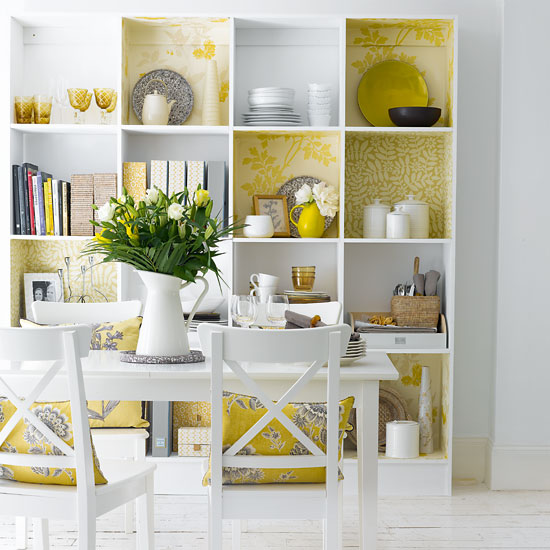 Yellow and White Bookcase
