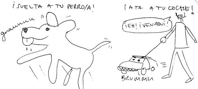 """2012-01-23 Dibupensamiento: """"Suelta a tu perro. Ata a tu coche"""""""