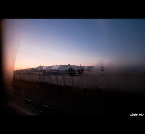 Amanecer desde el tren en Ulan Bator