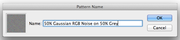 2. Saving some noise as a Pattern to use later.