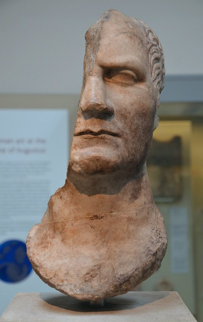 Marble head of a statue, probably of Julius Caesar, from the sanctuary of Athena Polias at Priene, about AD 50, Roman Empire, British Museum