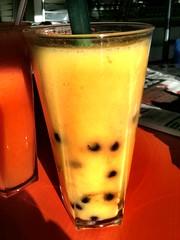 Mango bubble tea in Panda Panda