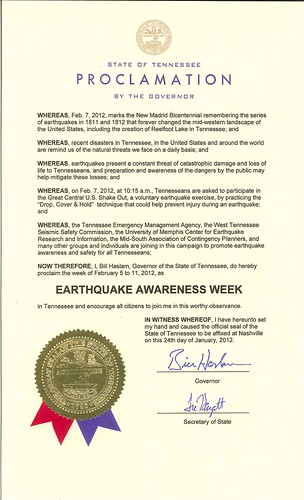 2012 Earthquake Awareness Proclamation