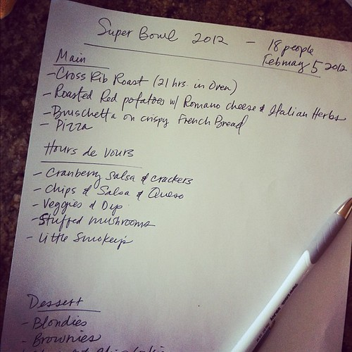 My final super bowl party menu. Time to get cooking…it's like thanksgiving for this party.