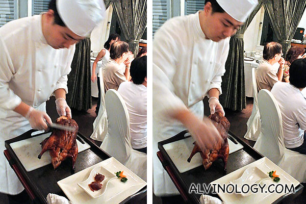 Min Jiang chef skillfully slicing up the duck by our table