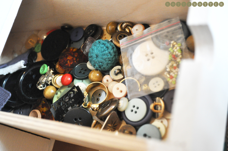 sewing storage button drawer