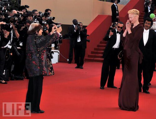 Agnes Varda with Tilda Swinton